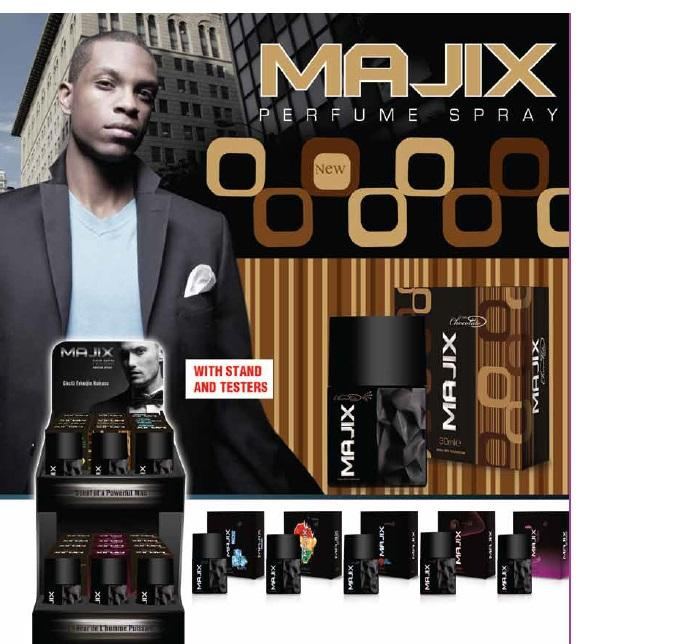 Majix perfume for men with display stand