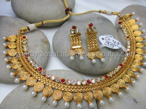 Indian Bollywood Bridal New Gold Style Trendy Kundan Necklace Jewelry Set