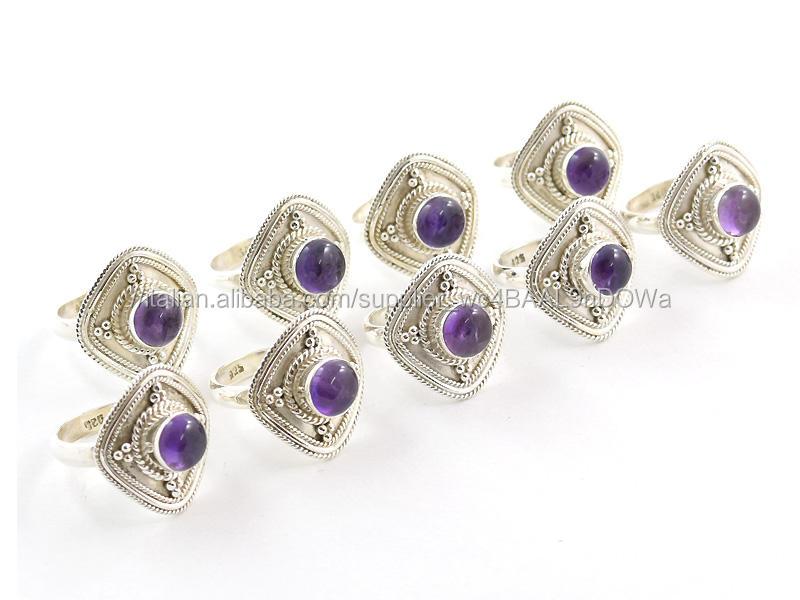 925 argento anelli di pietra viola Ametista gioielli in argento anelli per le donne gioielli Fatti A Mano Indiano gioielli