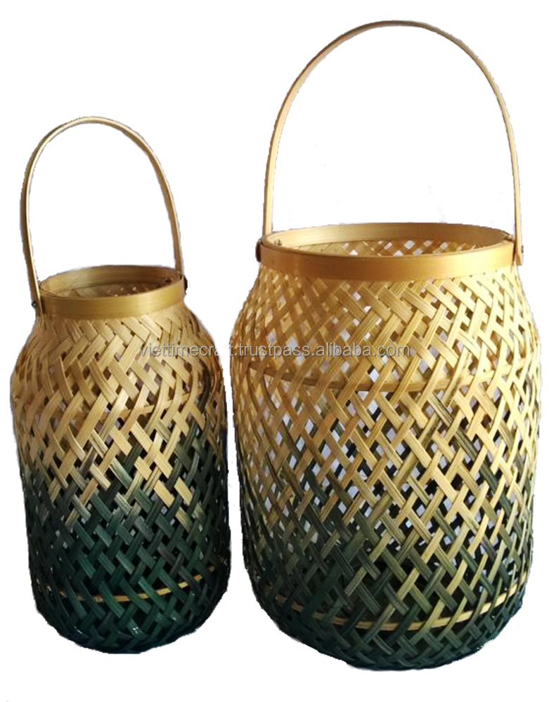 Hot item! Set of 2 bamboo lanterns, Eco friendly Handmade bamboo storage basket