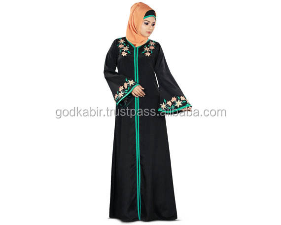 Abaya Front Open Embroidered Jilbab, Dubai Fancy Burqa/Best Flower Printed Decorative Black colour Abaya For sale.