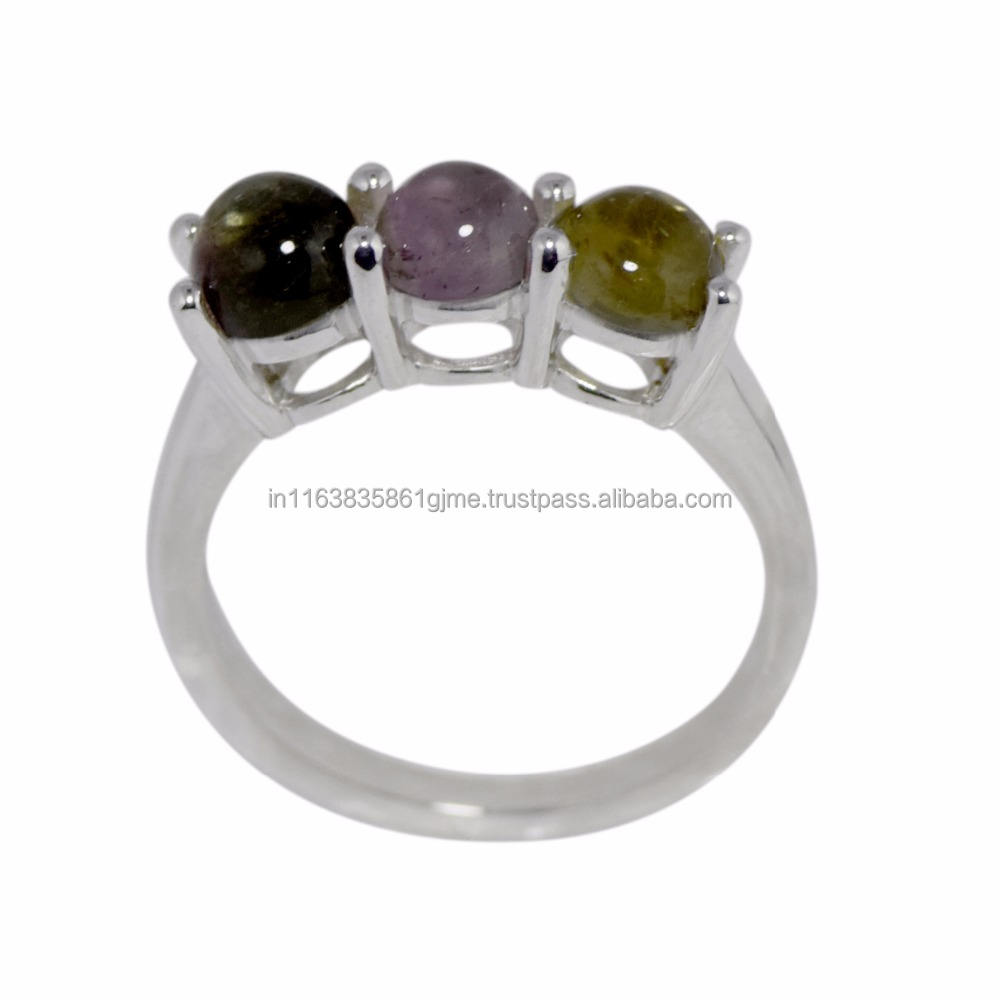 Indian Wedding Party Wear Silver Ring with Multi Tourmaline Gemstone solid 925 sterling silver Ring, New Ring SHRI0193