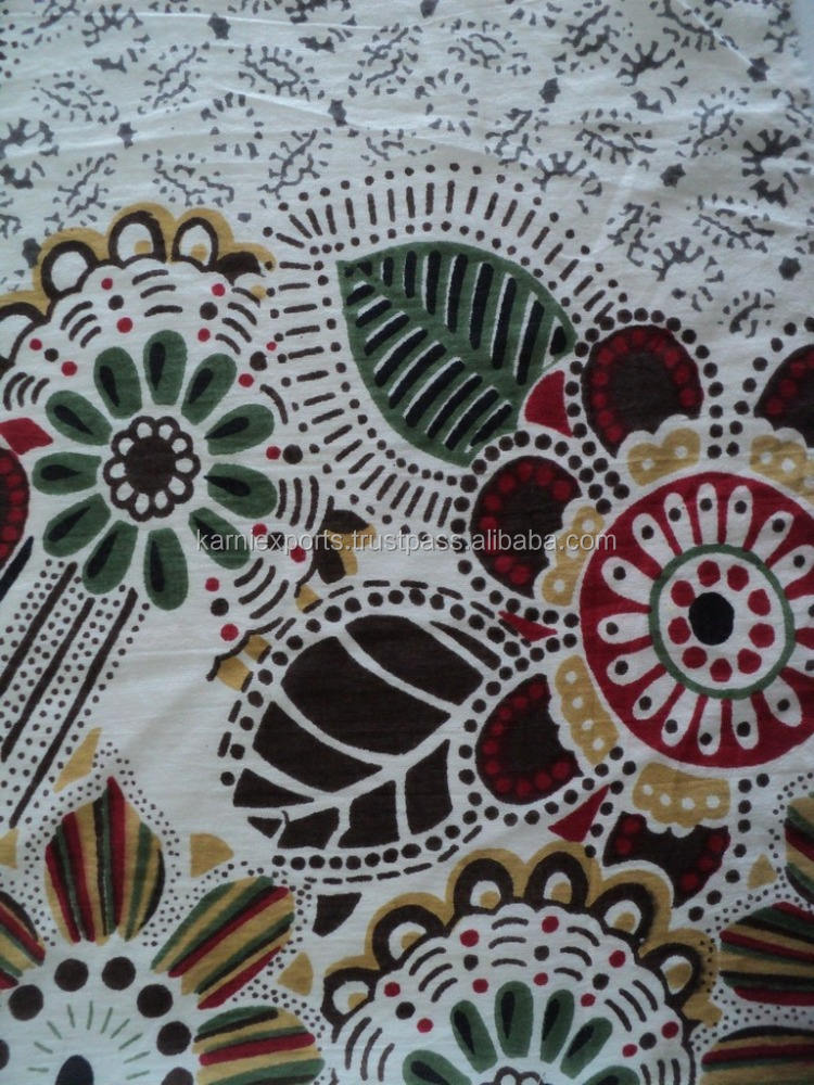Latest 2016 hand-block printed cotton cambric fabric new indian design printed fabric