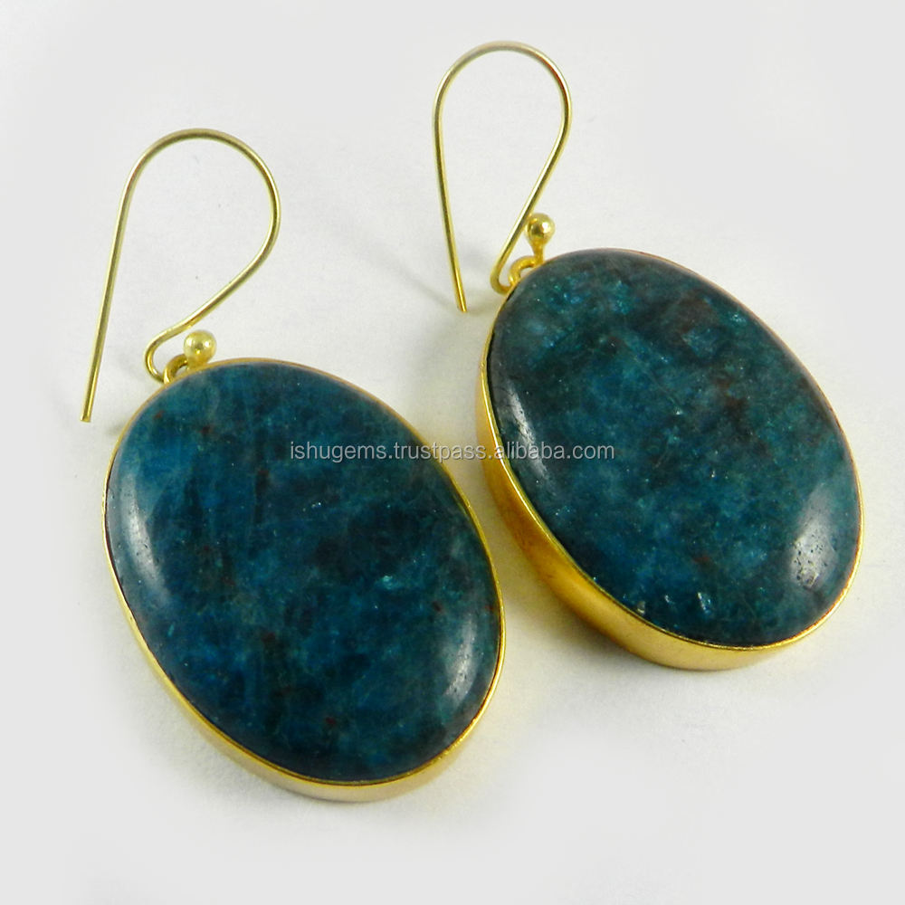 Neon Apatite Earring - Gemstone bezel Earring - 18k Gold plated fashion jewelry - IG2750