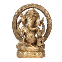 Indian Brass Golden Bronze Ganesha Statue With Rat 12 x 3.9 Inches SMG-253-1