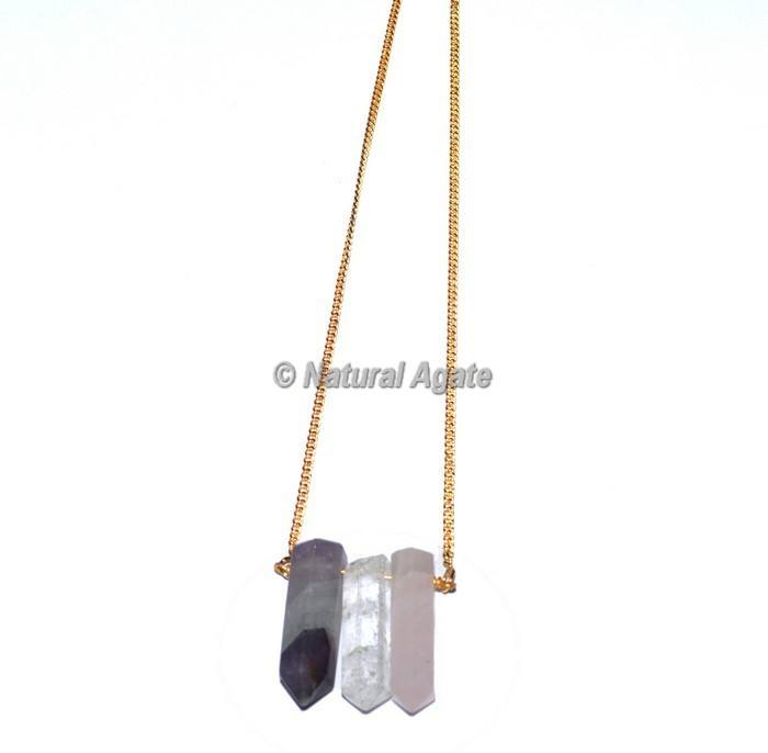 Gemstone Quartz Pencil Pendants With Golden Chain