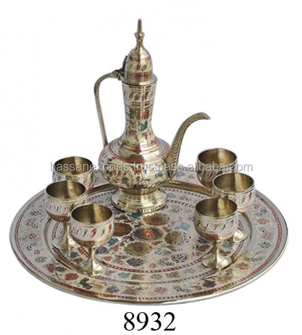 Handicrafts of Brass Arabic Wine Set Aftaba Tray And Glass
