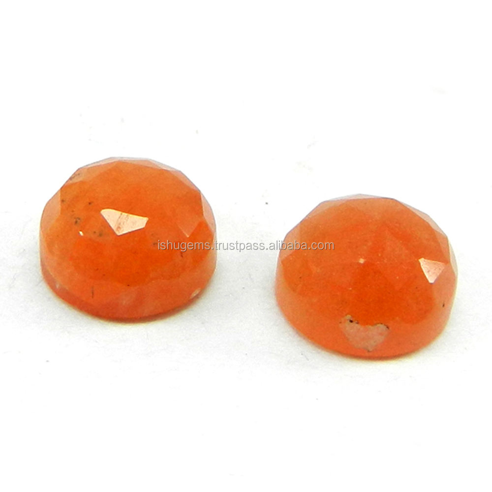 Exclusive ! Natural Peach Moonstone 8mm Round Checker Cut Cab 2.4 Cts Semi Precious Gemstone use for Jewelry IG4377