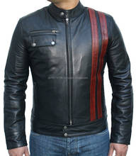 Lambskin Leather Men Regular Black Jacket Motorbike Style