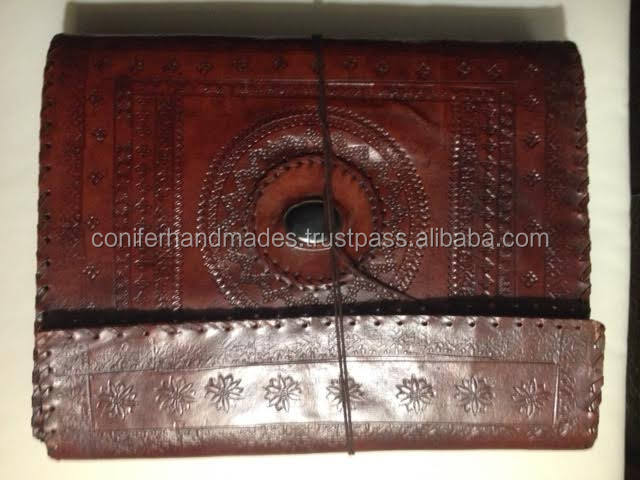 leather handmade cotton rag paper photo album with gem stone inlay for wedding photographers, photo studios, photographers,