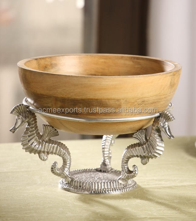 Table Top Cheap Round Mango wooden bowls With Aluminium Metal Stand