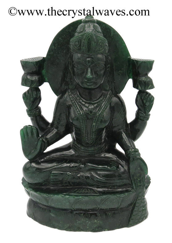Exclusive Green Aventurine Hand Carved Goddess Lakshmi Ji Idol