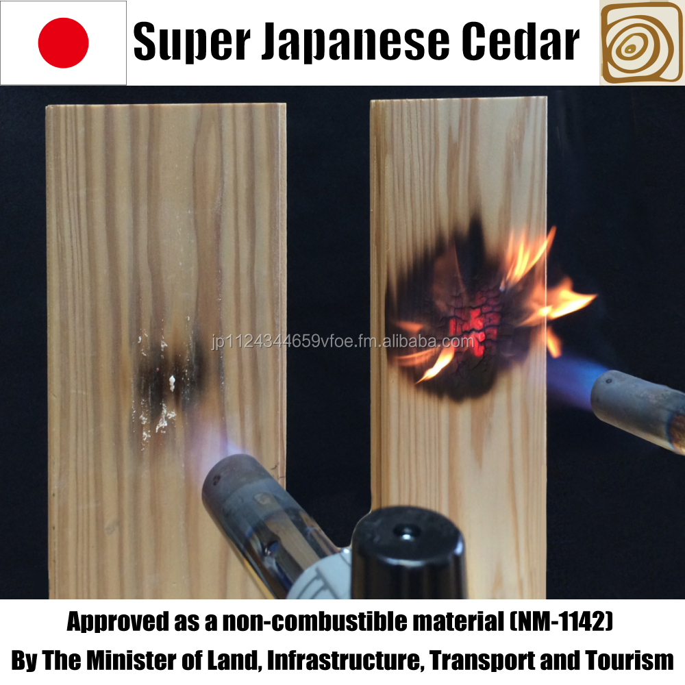 Non-Combustible Tongue-and-groove Japanese cedar panels for wall and ceiling 18*106*2000 1case=8pieces
