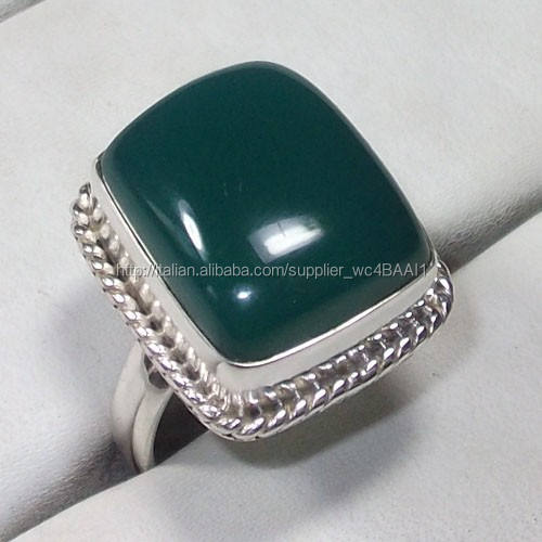 cabochon onice verde gemma anelli gioielli in <span class=keywords><strong>argento</strong></span> sterling 925 verde anelli di pietra