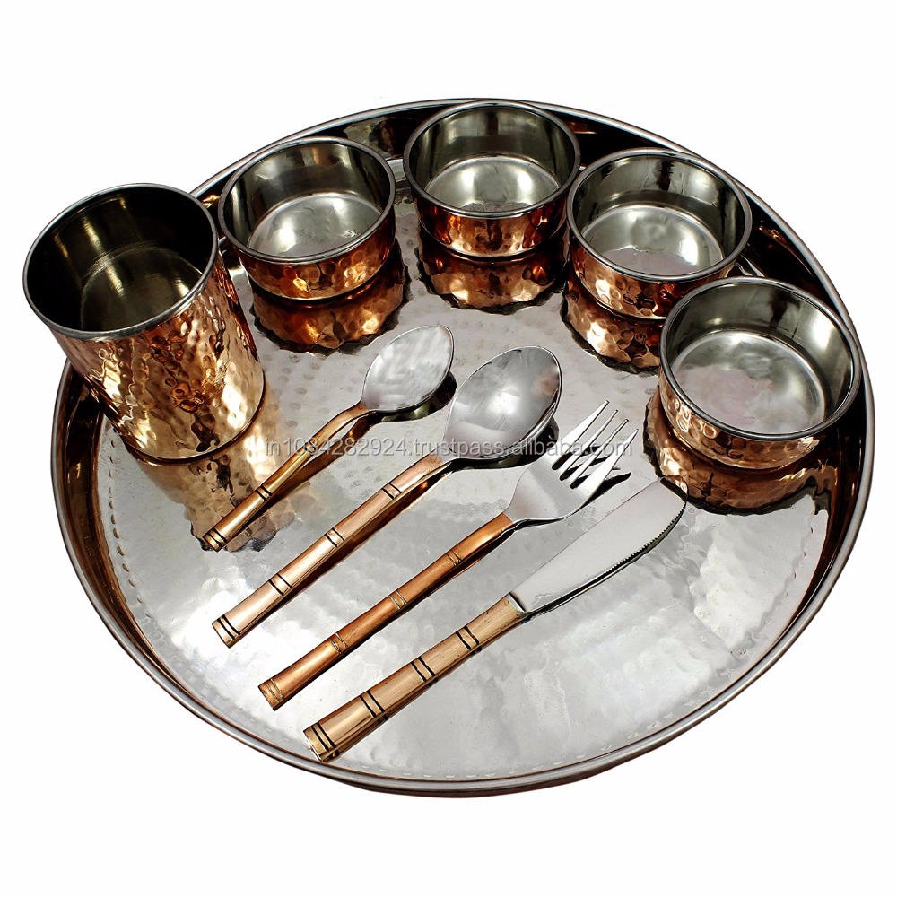 Copper Platted, Stainless Steel Large Dinner Plate Thali, Dinnerware for Indian Foods
