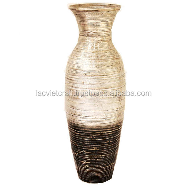 High quality best selling eco friendly handicraft spun bamboo decorative floor vase, silver & black color in Viet Nam