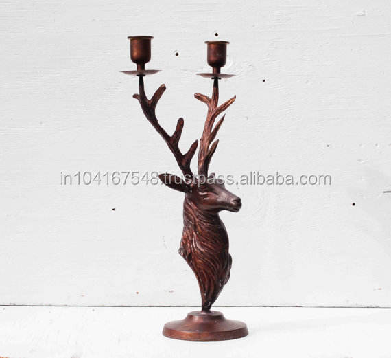 Rustic Finish Deer Candle Holder-kupfer antike finish