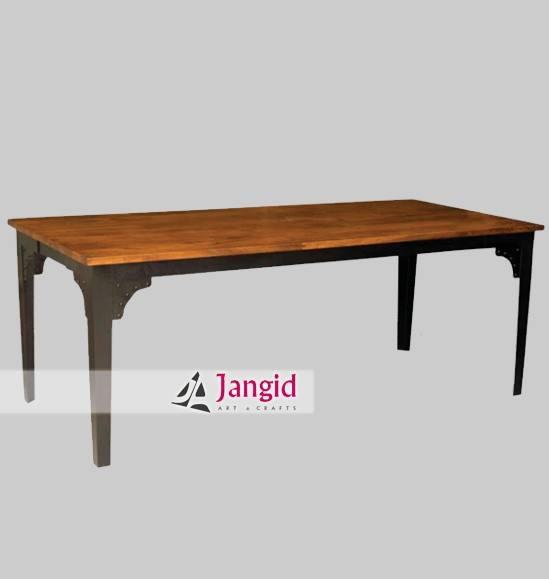 Low rise sólo hierro y rústico rough mesa de comedor de madera industrial diseños de muebles