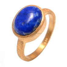 Lapis Lazuli Gemstone 925 Sterling silver Matte Finished gold vermeil Ring