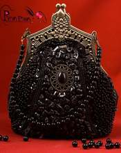 Gothic Lolita Punk Rave black beaded pearl clutch bag LS-011