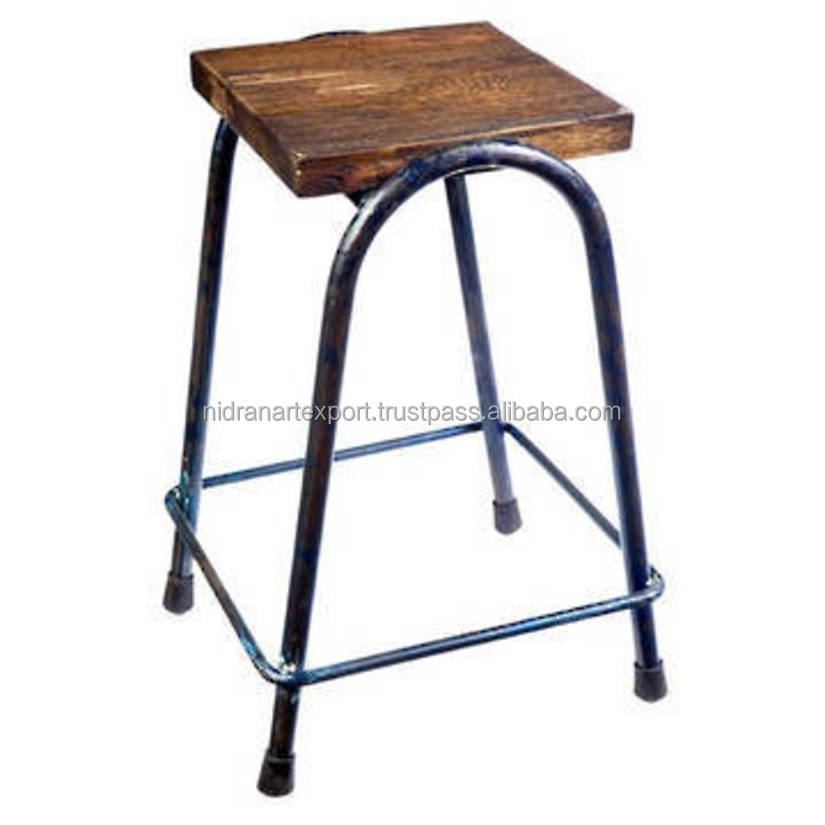 INDUSTRIAL& VINTAGE IRON METAL TALL BAR STOOL WITH WOODEN SEAT