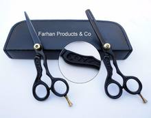 Professional Barber Hair Cutting & Thinning Scissors Shears Hairdressing Set Black