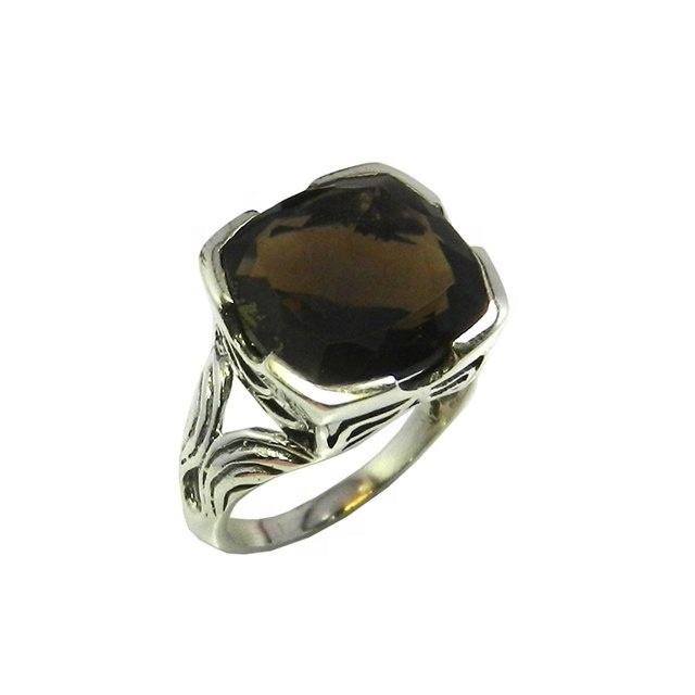 Fashion design 925 sterling zilveren smokey quartz edelsteen ring