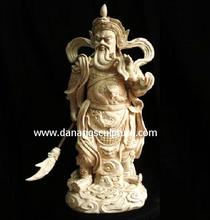 Chinese Hero Guan Yu Fengshui Style Statue For Outdoor Decoration natural yellow marble stone statue DSF-P086