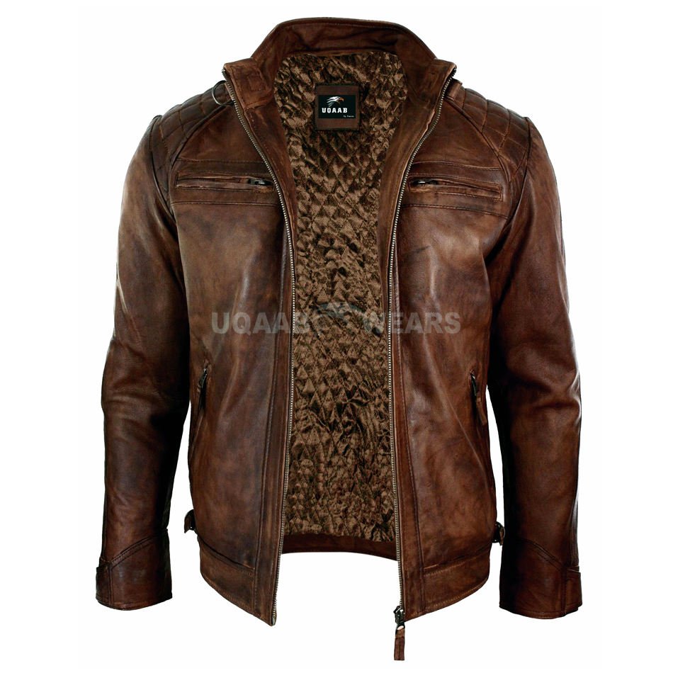 Mens Distressed Bomber Leather Jacket Retro Style Zipped Biker Real Genuine Leather Jacket Mid-weight Casual Fashion Jacket OEM