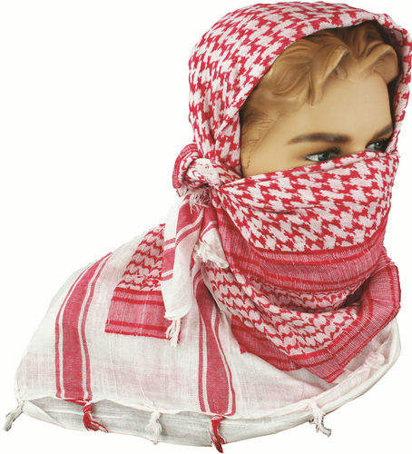White & red outdoor Shemagh/Militare Foulard