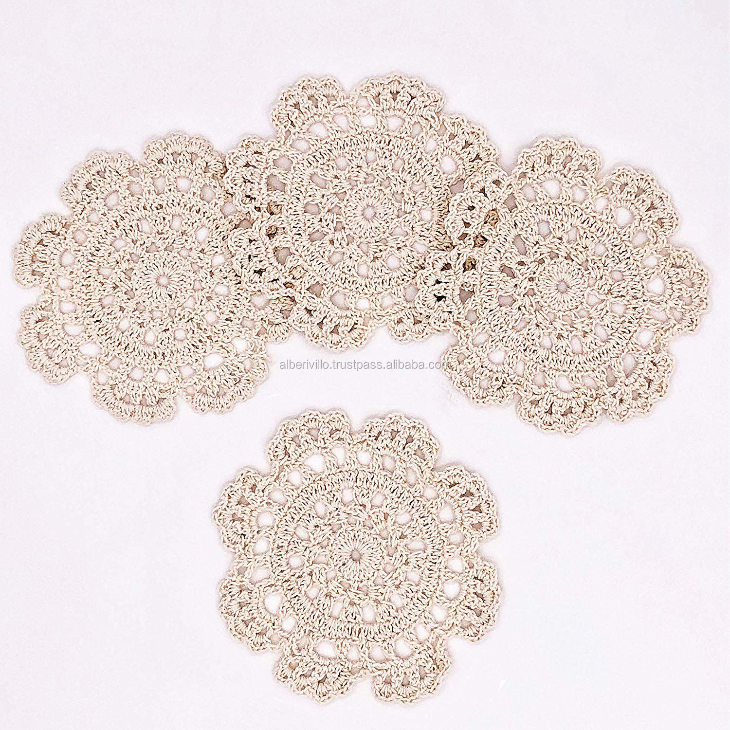 Round Cotton Fabric Crochet Cup Coaster Place Mats