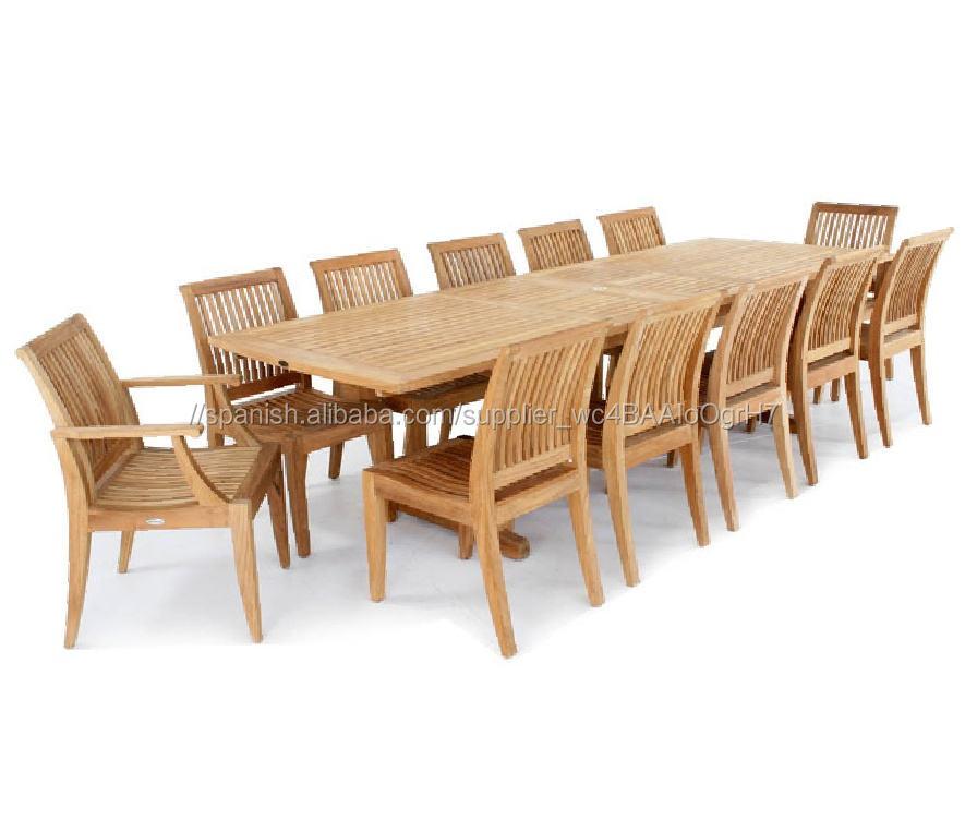 Extensible rectangular mesa de teca establece patio al aire libre <span class=keywords><strong>muebles</strong></span> de jardín