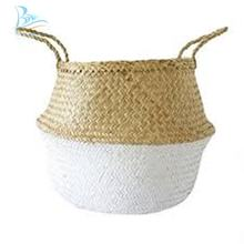 White Seagrass Belly Basket Plant Stand Basket Storage Laundry Basket From Vietnam