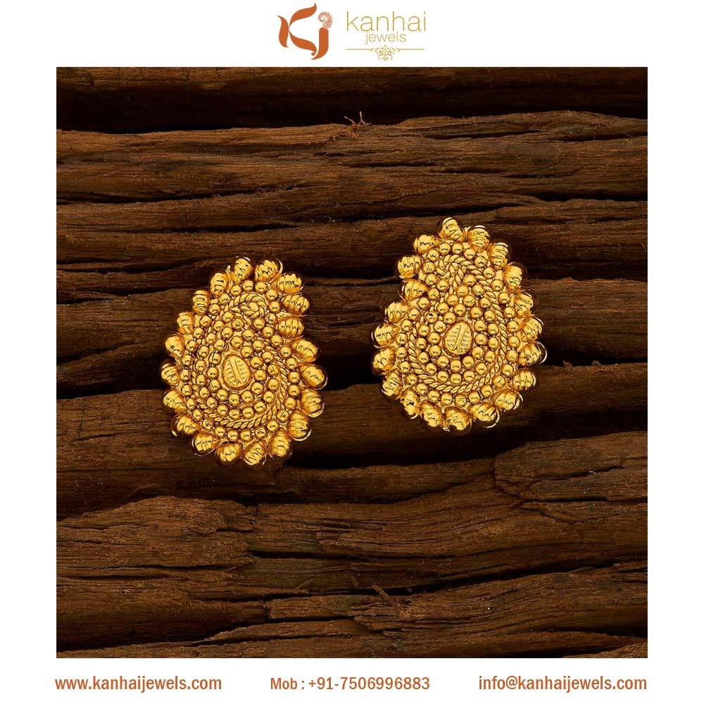 Gold plated stud earrings and wholesale fashion jewellery in mumbai, chennai and mumbai gold plated jewellery - 15690