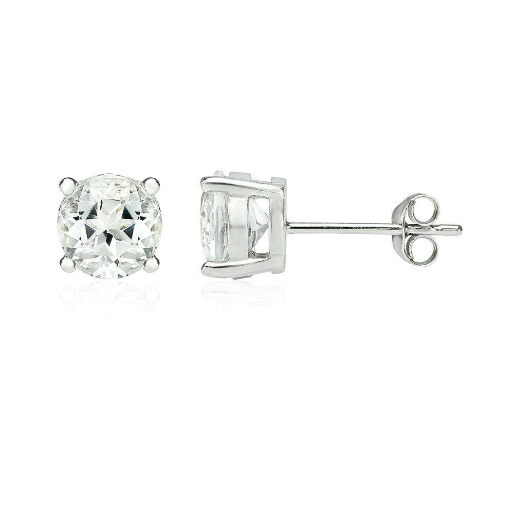 925 Sterling Silver White Topaz 7mm Round Shape Earrings Studs