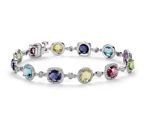 quality jewelry 925 sterling silver gemstone jewelry natural multi stone and cz semi precious stone bracelet