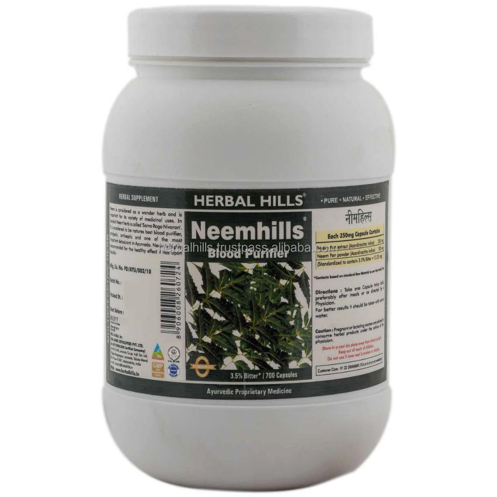 Natural Blood Purifier azadirachta indica Neem leaves Capsule 700 in a pack - Manufacturer, Price, OEM, Private Label