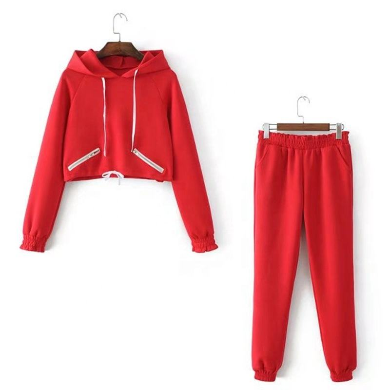 Customized Ladies Short Body Colorful Track Suit Set Lumbar Women Casual Sports Hoodies Suit With Trouser MK-TS-W-3214