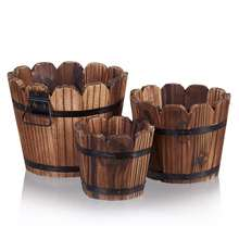 Wooden Barrel Planter Boxes , Rustic Flower Plant Pots Indoor Outdoor Kitchen Home Garden Patio DEcor for Succulent