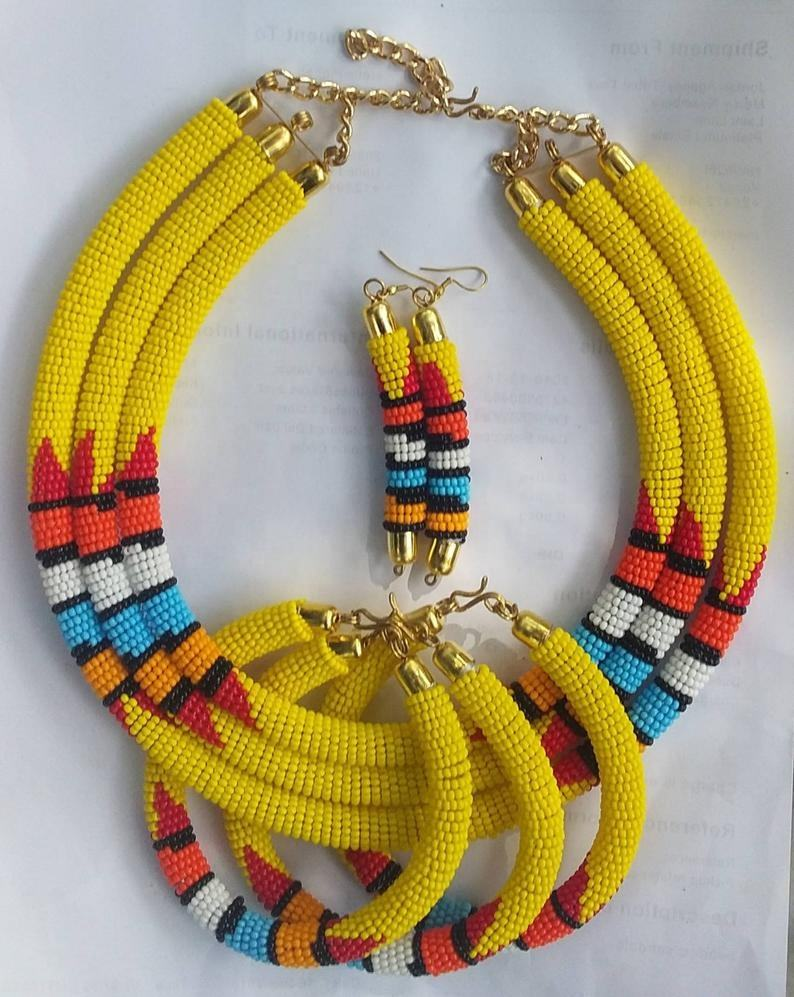 Handmade African Traditional Beaded Necklace Sets
