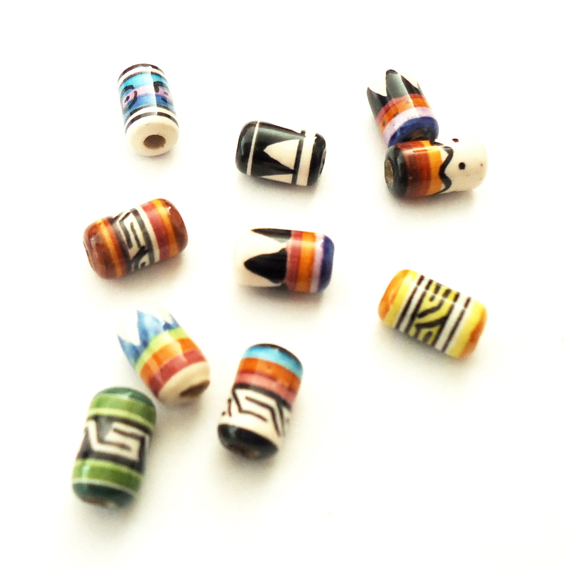 Wholesale Peruvian hand painted pattern design beads for jewelry, Hand painted tube shaped ceramic beads