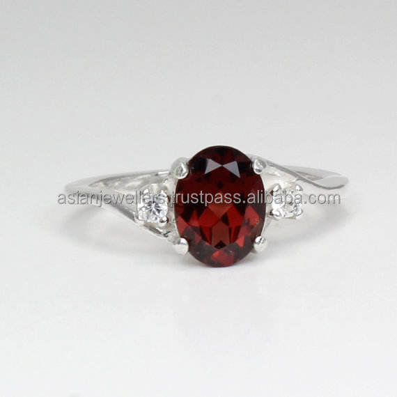 Garnet And CZ gemstone Ring 925 Sterling silver Ring Stacking Ring Handmade Silver Jewelry