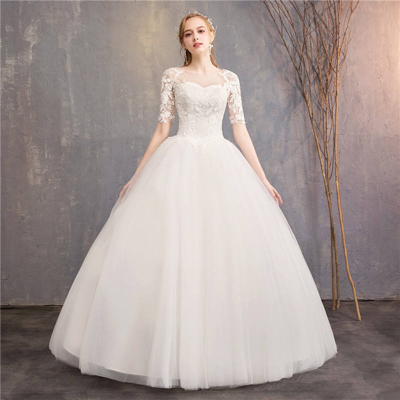 2019 Cheap Affordable Quality Chinese Wedding Gown 3/4 Sleeve Ivory Lace Flower Floor length Wedding Dress