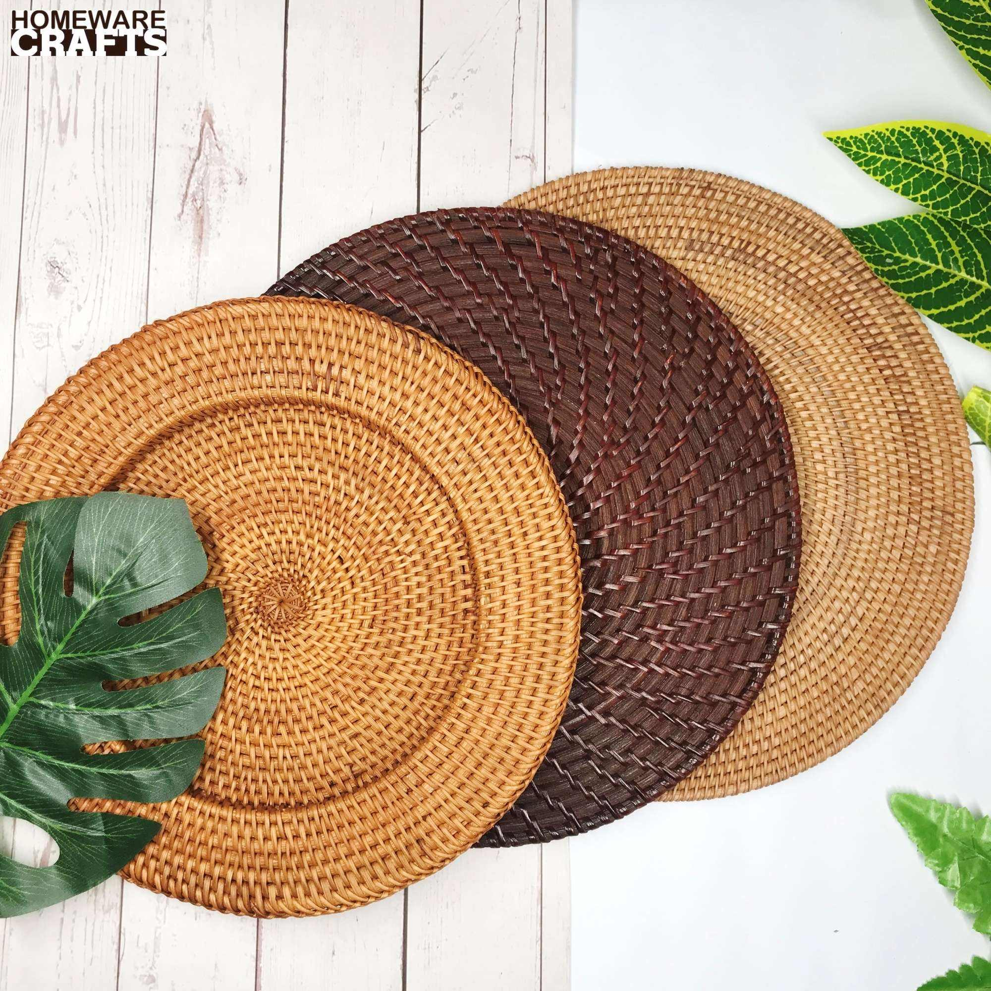 Natural round rattan charger plate for serving food handmade wholesale