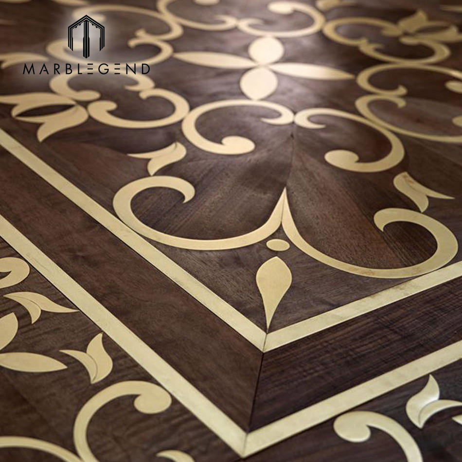 Best price new style metal inlay wood parquet flooring for sale