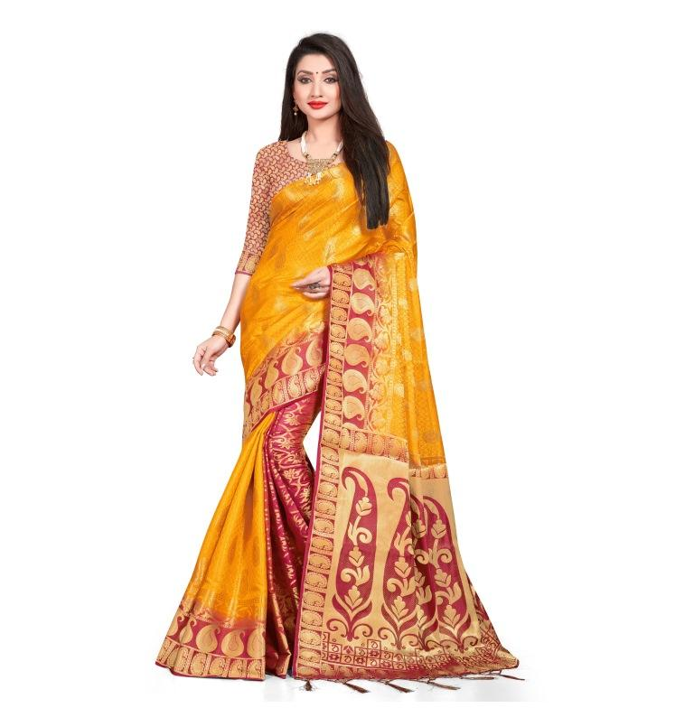 Latest Designer Plain Sarees With Border / South Indian Silk Sarees / Double Colour Sarees