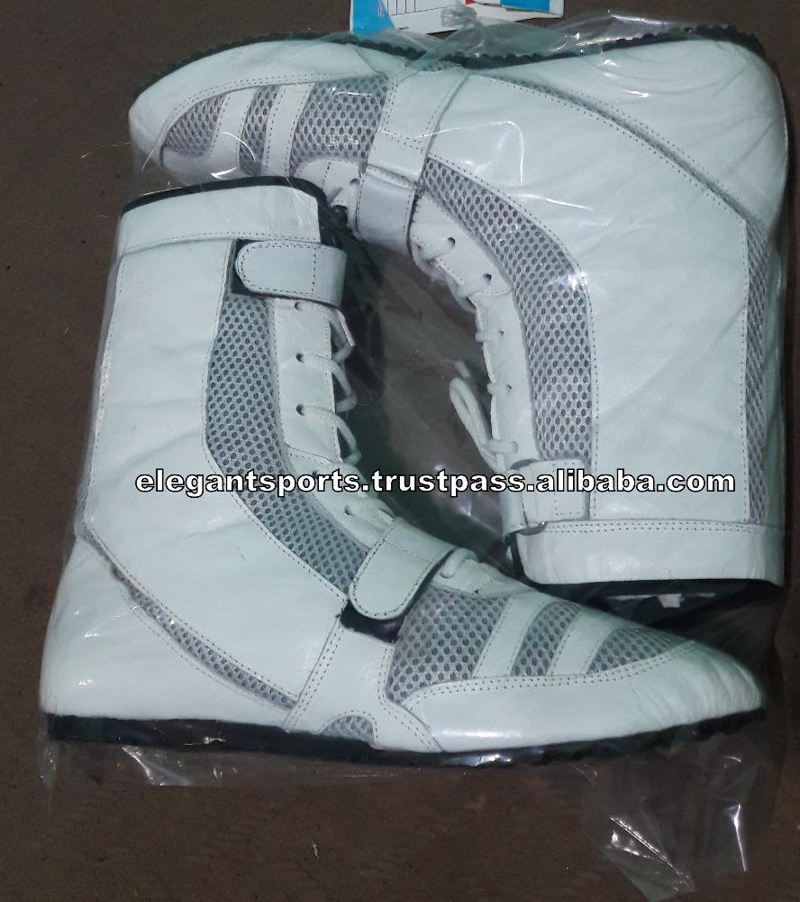 White Real Leather Boxing Shoes