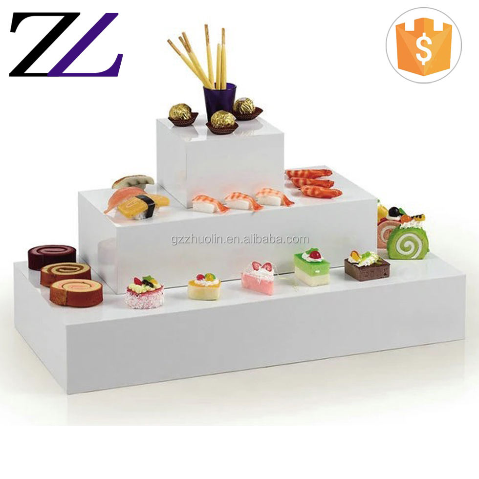 Catering banquet tabletop buffet elevation dessert cupcake white mirror cube clear acrylic 3 step display stand/ buffet riser