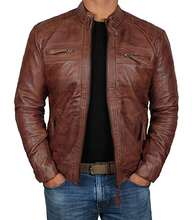 Men's Leather Jacket For Biker Distressed Genuine Lambskin Top Quality Material - Wholesale Price