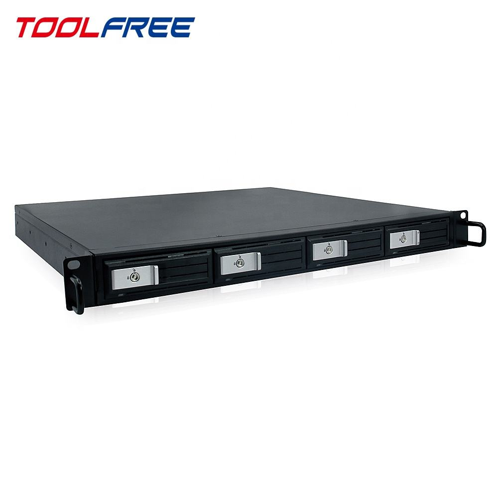 TOOLFREE 1U Server RackMount 4Bay Trayless HDD Behuizing MiniSAS Hot Swap Storage Case Chassis